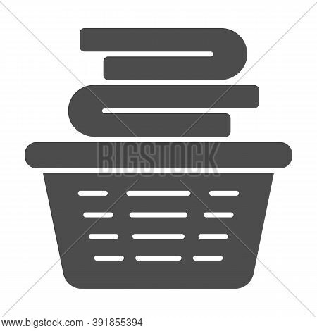 Laundry In Basket Solid Icon, Household Concept, Cloth Stack In Plastic Basket Sign On White Backgro