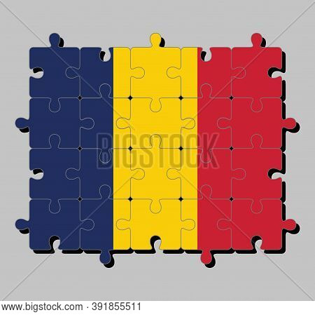 Jigsaw Puzzle Of Chad Flag In Vertical Tricolor Of Blue, Gold, And Red. Concept Of Fulfillment Or Pe