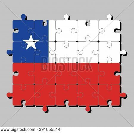 Jigsaw Puzzle Of Chile Flag In A Horizontal Bicolor Of White And Red With The Blue Square On The Upp