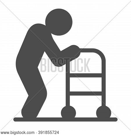 Elderly Man With Paddle Walker Solid Icon, Medical Concept, Disabled Person With Walker Sign On Whit