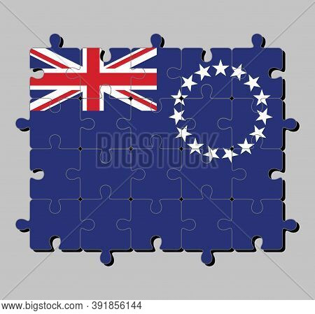 Jigsaw Puzzle Of Cook Islands Flag In Blue Ensign With A Ring Of Star And Union Jack. Concept Of Ful