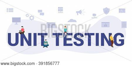 Unit Testing Concept With Modern Big Text Or Word And People With Icon Related Modern Flat Style