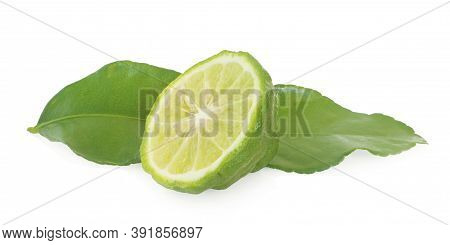 Bergamot Fruit With Cut In Half An Isolated On White Background