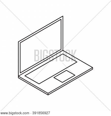 Laptop Notebook Single Isolated Icon With Line Or Outline Style And Isometric Shape