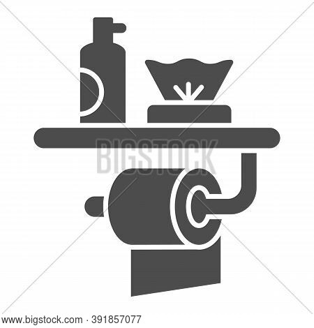 Toilet Paper, Air Freshener And Napkins Solid Icon, Hygiene Concept, Toiletries Sign On White Backgr