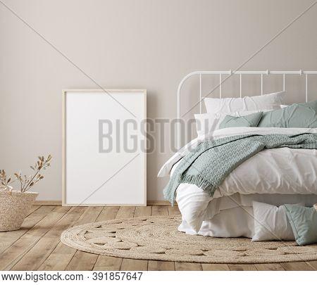 Frame Mock Up In Farmhouse Bedroom Interior, 3d Illustration