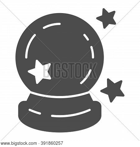 Crystal Ball Solid Icon, Halloween Concept, Magic Ball For Predictions Sign On White Background, Gla