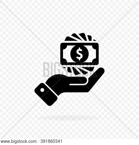Money In Hand, Banknote Or Dollar Bill Icon Logo In Black. Finance Icon In Black. Business Icon. Mon