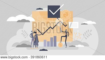 Financial Adviser As Money Consulting Advice And Support Tiny Person Concept. Stock Sell And Buy Mom