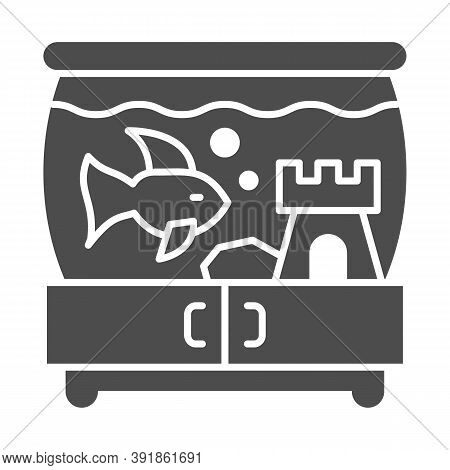 Aquarium With Fish And Castle On Pedestal Solid Icon, Pets Concept, Tank Of Water With Fish Sign On