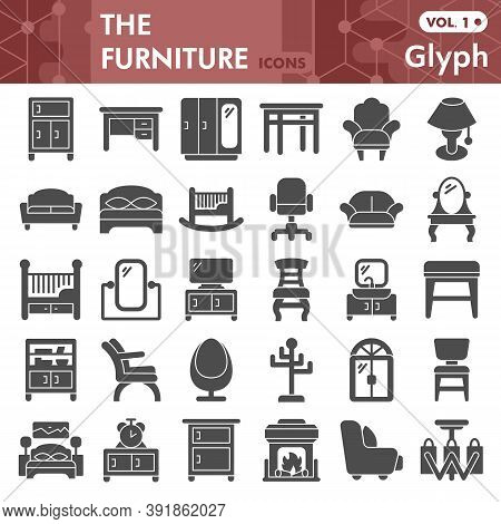 Furniture Solid Icon Set, House Design Symbols Collection Or Sketches. Home And Furniture Glyph Styl