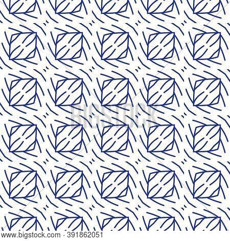 Seamless Islamic Pattern, Blue And White Modern Shape For Design, Porcelain, Chinaware, Ceramic Tile