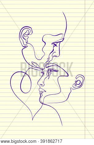 Man And Woman, Pair , Heads, Faces, Silhouette, Continuous Line Drawing In Copybook With Solid Ink,