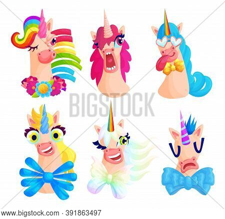 Cute Unicorn Grimaces Cartoon Vector Illustrations Set. Fairy Horses Showing Different Emotions Flat