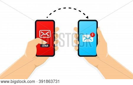 Two Hands Holding Smartphone With New Message Notification On Screen. Mobile Phone Alert About New E