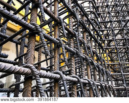 Metal Framework Of Concrete Monolithic Structure.reinforcement Of Concrete Walls