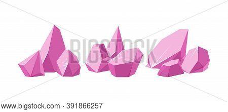 Crystals Broken Into Pieces. Set Of Smashed Pink Crystals. Broken Gemstones Or Pink Rocks. Vector Il