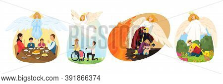 Christianity, Religion, Protection, Family, Care, Support Concept. Angel Biblical Religious Characte