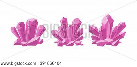 Pink Crystals Or Prescious Gemstones. Set Of Shimmering Crystals For Jewellery With Magic Sparkles I