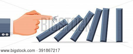 Hand Of Business Man Pushing Dominoes. Domino Chain Reaction Effect In Business. Crisis Management,
