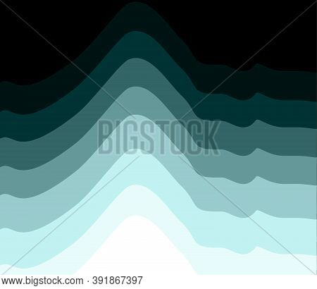 Vector Illustration. Abstract Pattern Depicting Snowy Mountains Or Sea Waves In Shades Of Blue-green