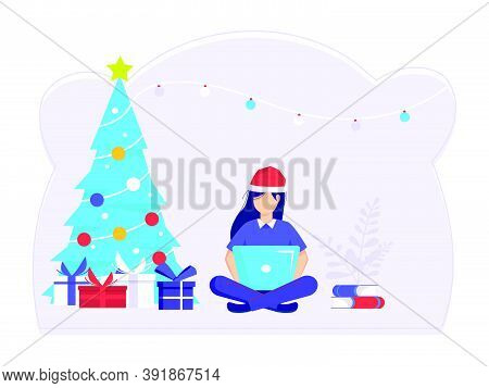 Women Sit And Finish Errands At Work At Christmas. Job Well Done And Successful. Modern Vector Illus