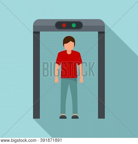 Airport Scanner Gate Icon. Flat Illustration Of Airport Scanner Gate Vector Icon For Web Design
