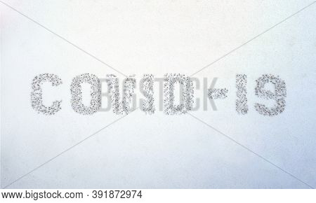 Covid-19 Word Made By People. Crowd Mob Of People Symbols Word Of Covid-19. Team Social Concept Of C