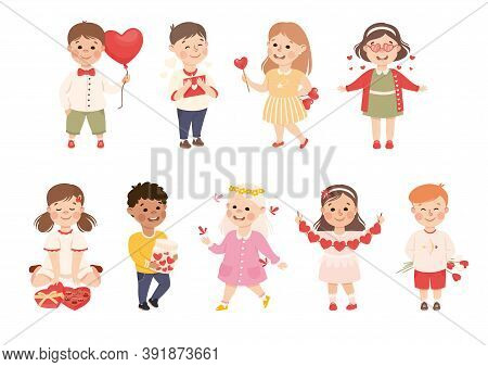 Cute Happy Children With Romance Feelings Symbols Set, Adorable Kids With Hearts, Happy Valentines D