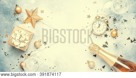 Christmas Or New Year Composition, Frame, Gray Background With Gold Christmas Decorations, Stars, Sn