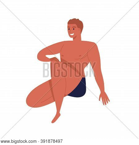 Sunburnt Man In Black Underpants With Fit Body. Naked Male Character In Underwear. Smiling Guy Model