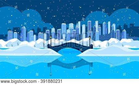 Christmas Winter City Landscape With Bridge, Lake, Reflection, Snow Drifts, Skyscrapers, Night Sky.