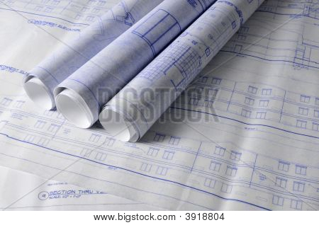Architectural Blueprins On A Table