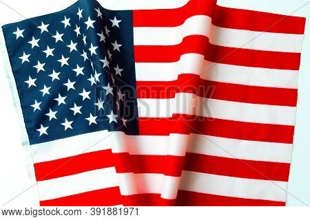 Top View American Flag And Shape Inscription V Or Victory Usa Election Concept.