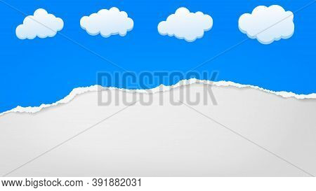 Torn Of Blue Paper Strip, Piece Is With Clouds On White Background For Text, Advertising Or Design.
