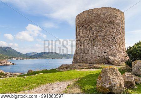 Tower Argentina At The West Coast Along Costa Tentizzos Near Bosa On Sardinia Islands, Italy