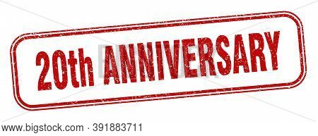 20th Anniversary Stamp. 20th Anniversary Square Grunge Sign. Label