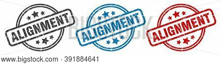 Alignment Stamp. Alignment Round Isolated Sign. Alignment Label Set