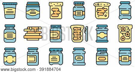 Chocolate Paste Icons Set. Outline Set Of Chocolate Paste Vector Icons Thin Line Color Flat On White