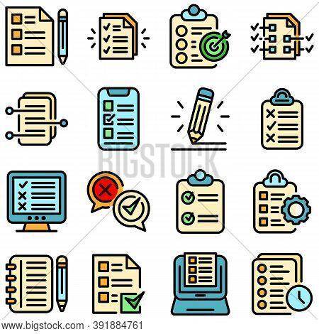 Assignment Icons Set. Outline Set Of Assignment Vector Icons Thin Line Color Flat On White