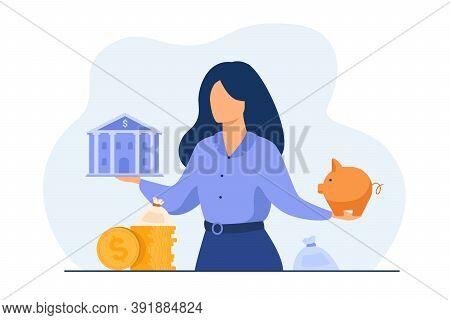 Woman Choosing Between Bank And Piggybank, Choosing Instrument For Saving, Planning Budget Or Loan.