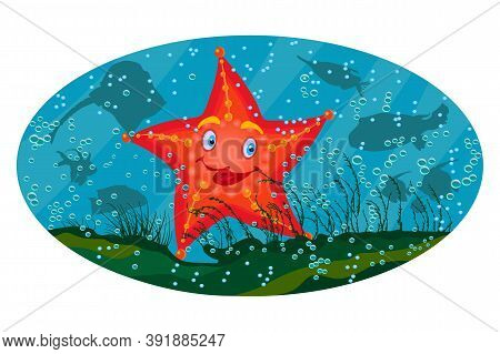 Sea Star Under The Sea On Marine Background. Cute Cartoon Red Starfish. Starfish Sea Stars Mascot Wi