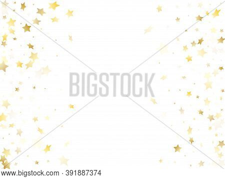 Magic Gold Sparkle Texture Vector Star Background. Bright Gold Falling Magic Stars On White Backgrou