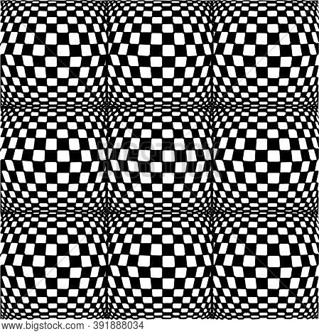 Seamless Pattern. Vertical Shifts To Vanishing Points. Large To Small Geometric Rectangular Square S