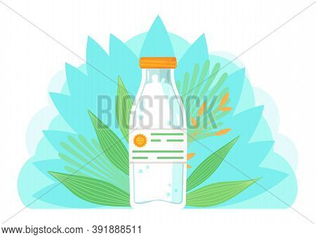 Glass, Plastic Bottle With Milk. High Quality Label At Label. Organic Natural Milk Product At Green