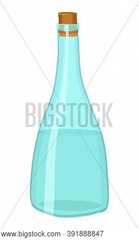 Isolated Glass Bottle With Cork At White Background. Vector Illustration In Cartoon Style Of Bottle