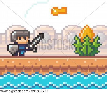 Pixel Game Interface, Element. 80s Graphic. Hero Or Personage Of Mobile 8 Bit Game, Videogame. Pixal