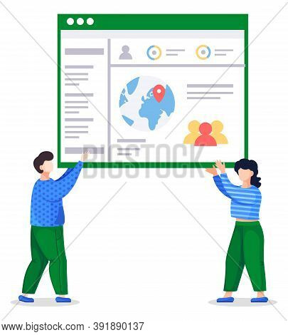 Man And Woman In Similar Color Clothes Holding Web Page In Hands. Coders Or Programmers Created Work