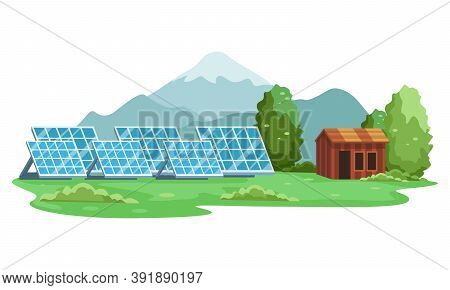 Landscape Of Renewable Energy Solar Panel. Green Energy An Eco Friendly Solar Power. Alternative Ene