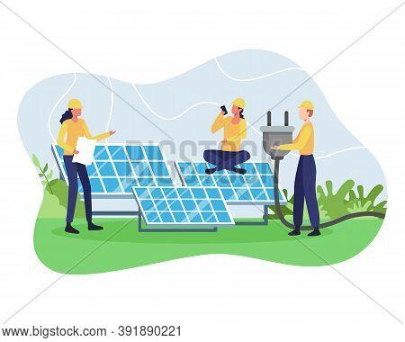 Vector Concept Of Renewable Energy. Alternative Energy Resource With Solar Panels, Solar Panel Power